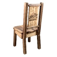 MWHCKSCNSLLZMOOSE Rustic Laser Engraved Moose Dining Chair - Homestead