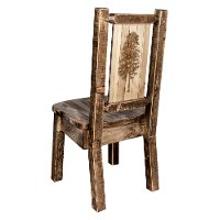 MWHCKSCNSLLZPINE Rustic Laser Engraved Pine Tree Dining Chair - Homestead