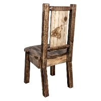 MWHCKSCNSLLZWOLF Rustic Laser Engraved Wolf Dining Chair - Homestead