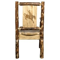 MWGCCASCNLZBRONC Captain's Dining Chair with Laser Engraved Bronc - Glacier