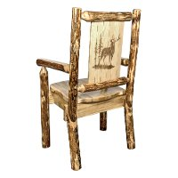 MWGCCASCNLZELK Captain's Dining Chair with Laser Engraved Elk - Glacier