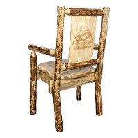 MWGCCASCNLZMOOSE Captain's Dining Chair with Laser Engraved Moose - Glacier