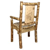 MWGCCASCNLZWOLF Captain's Dining Chair with Laser Engraved Wolf - Glacier