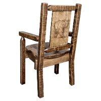 MWHCCASCNSLLZBEAR Captain's Dining Room Chair with Laser Engraved Bear - Homestead