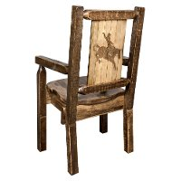 MWHCCASCNSLLZBRONC Captain's Dining Room Chair with Laser Engraved Bronc - Homestead
