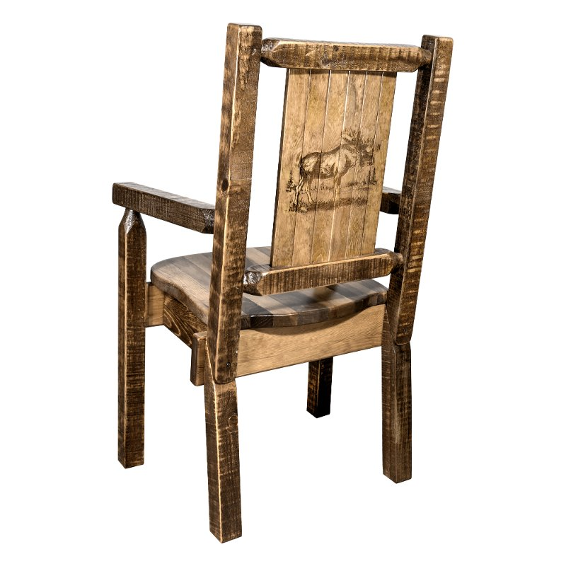 MWHCCASCNSLLZMOOSE Captainu0027s Dining Room Chair With Laser Engraved Moose    Homestead