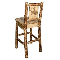 MWGCBSWNRLZBRONC Rustic Bar Stool with Laser Engraved Bronc - Glacier