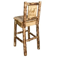 MWGCBSWNRLZELK Rustic Bar Stool with Laser Engraved Elk - Glacier