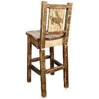 MWHCBSWNRSLLZBRONC Rustic Wood Bar Stool with Laser Engraved Bronc - Homestead