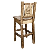 MWHCBSWNRSLLZELK Rustic Wood Bar Stool with Laser Engraved Elk - Homestead