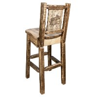MWHCBSWNRSLLZMOOSE Rustic Wood Bar Stool with Laser Engraved Moose - Homestead