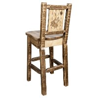 MWHCBSWNRSLLZWOLF Rustic Wood Bar Stool with Laser Engraved Wolf - Homestead
