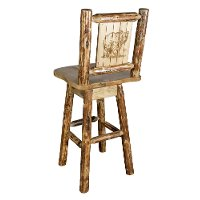 MWGCBSWSNRLZBEAR Rustic Pine Swivel Bar Stool with Laser Engraved Bear - Glacier
