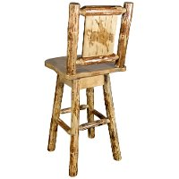 MWGCBSWSNRLZBRONC Rustic Pine Swivel Bar Stool with Laser Engraved Bronc - Glacier