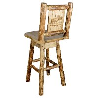 MWGCBSWSNRLZMOOSE Rustic Pine Swivel Bar Stool with Laser Engraved Moose - Glacier