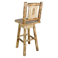 MWGCBSWSNRLZPINE Rustic Swivel Bar Stool with Laser Engraved Pine Tree - Glacier