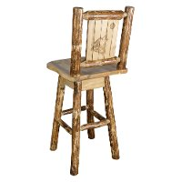 MWGCBSWSNRLZWOLF Rustic Pine Swivel Bar Stool with Laser Engraved Wolf - Glacier