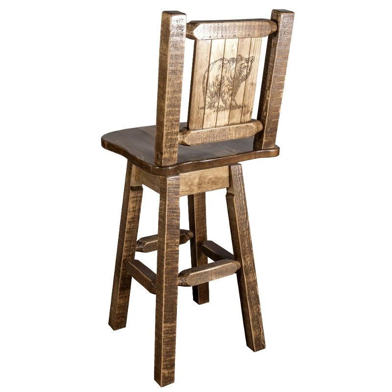 Rustic Swivel Bar Stool With Laser Engraved Bear Homestead