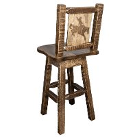 MWHCBSWSNRSLLZBRONC Rustic Swivel Bar Stool with Laser Engraved Bronc - Homestead