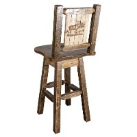 MWHCBSWSNRSLLZMOOSE Rustic Swivel Bar Stool with Laser Engraved Moose - Homestead