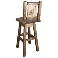 MWHCBSWSNRSLLZWOLF Rustic Swivel Bar Stool with Laser Engraved Wolf - Homestead