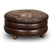 Classic Brown Leather Round Ottoman - Suffolk