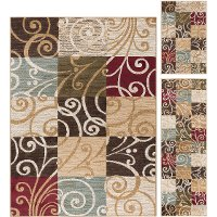 LGN4680SET3 3 Piece Set Ivory, Blue, and Green Area Rug - Laguna