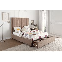 Contemporary Brown Queen Upholstered Platform Bed - Chenille