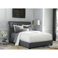 Traditional Gray King Upholstered Sleigh Bed - Chesterfield