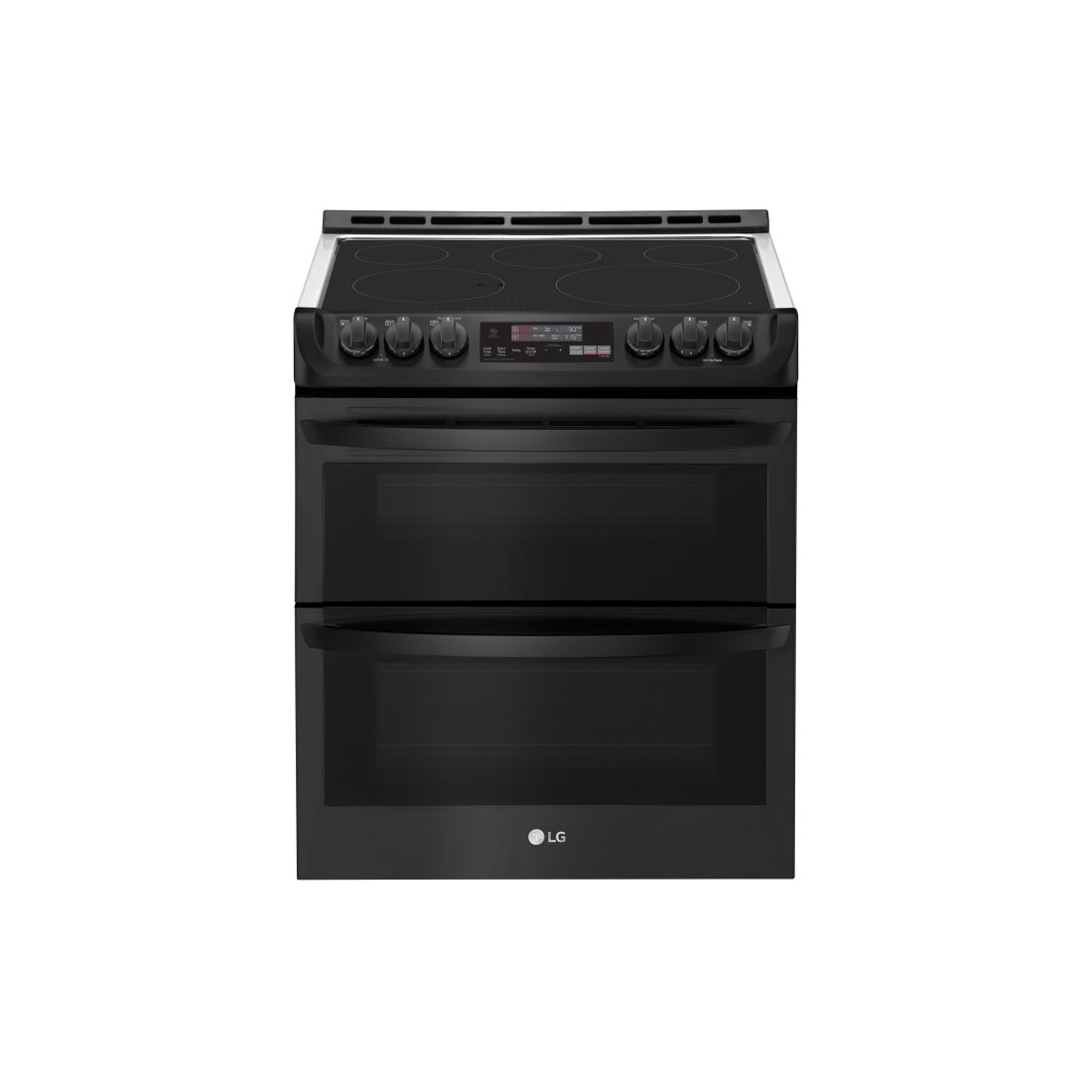 Smart Wifi Enabled Electric Double Oven Slide In Range With Probake Convection And Easyclean Matte Black Stainless Steel Rc Willey Furniture