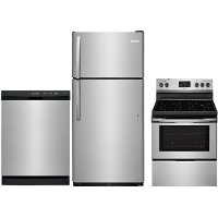 SS-3PC-ELE-PACKAGE Frigidaire 3 Piece Electric Kitchen Appliance Package with Top Freezer Refrigerator - Stainless Steel