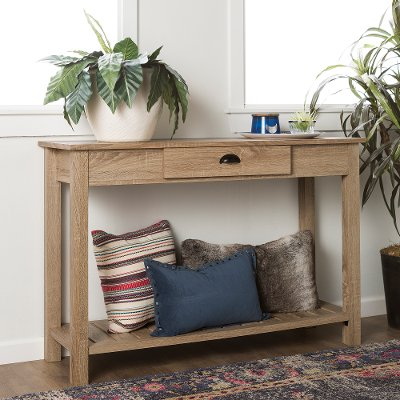 Country Style Rustic Natural Brown Entryway Table