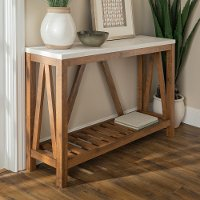 Rustic White Faux-Marble Entryway Table with Walnut Base