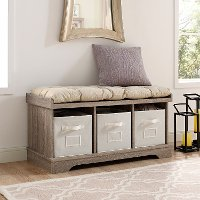 Driftwood Wood Storage Bench