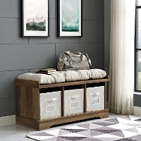 Rustic Oak Wood Storage Bench