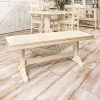 Millwright Antique Cream Wood Dining Bench