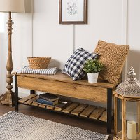 Open-Top Barnwood Storage Bench with Shoe Shelf - Barnwood