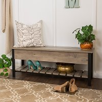 Open-Top Gray Wash Storage Bench with Shoe Shelf