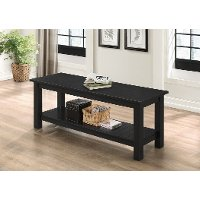 Country Style Black Entry Bench with Slatted Shelf