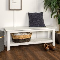Country Style White Entry Bench with Slatted Shelf