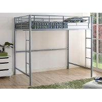 Contemporary Silver Full Size Loft Bed - Sunrise