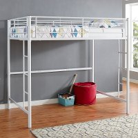 Contemporary White Full Size Loft Bed - Sunrise