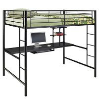 Contemporary Black Full Loft Bed with Workstation - Sunrise