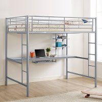 Contemporary Silver Full Loft Bed with Workstation - Sunrise