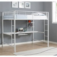 Contemporary White Full Loft Bed with Workstation - Sunrise