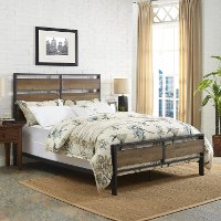 Rustic Industrial Oak Queen Bed - Arcadia