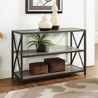 Driftwood X-Frame Metal and Wood Media Bookcase
