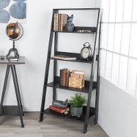 Black Wood Ladder Bookcase