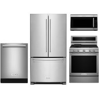 KIT KitchenAid 4 Piece Kitchen Appliance Package with Gas Range with EvenHeat - Stainless Steel
