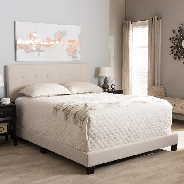 ... 131 7313 RCW Contemporary Beige Full Upholstered Bed   Brookfield